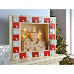 Contents: WeRChristmas Pre-Lit Wooden Church Scene Advent Calendar