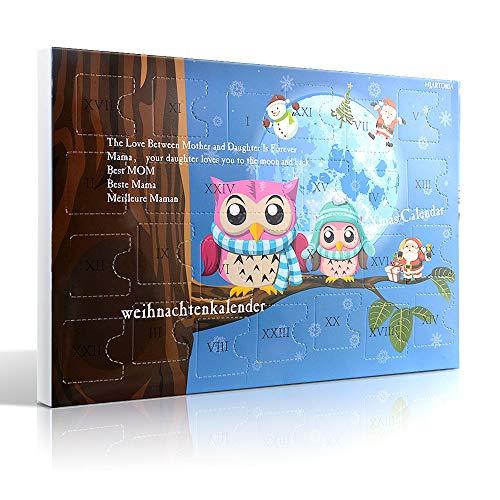 MJARTORIA Weihnachtskalender Schmuck Adventskalender 2020 für Damen Mädchen Kinder mit 24 Überraschungen Xmas Choker Kette Weinglas Marker Brosche Click Button Charms(Blau Eule)