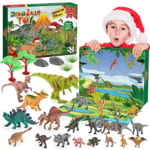 BOXYUEIN Adventskalender 2021 Kinder, Spielzeug ab 2 3 4 5 6 7 8 9 10 jahre Junge Dinosaurier Spielzeug Geschenke Junge 2-10 jahre Dino Spielzeug Weihnachts Geschenke Kinder Adventskalender Junge
