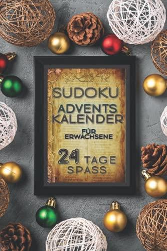 Sudoku Adventskalender für Erwachsene 24 Tage Spass: Weihnachtliche Geschenkidee - 288 Sudokus für 24 Adventtage - leichte bis normale Schwierigkeitsstufe - schönes Weihnachtliches Design
