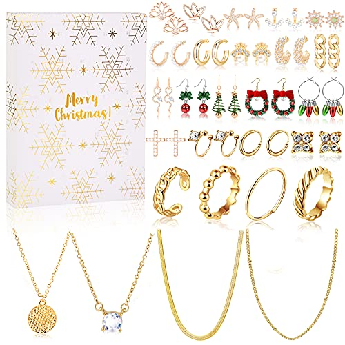 MJARTORIA Schneeflocke Schmuck Adventskalender 2021 Weihnachtskalender für Damen Frauen Mädchen Weihnachten Countdown Adventskalender, mit 24 Überraschungen Weihnachten Geschenk