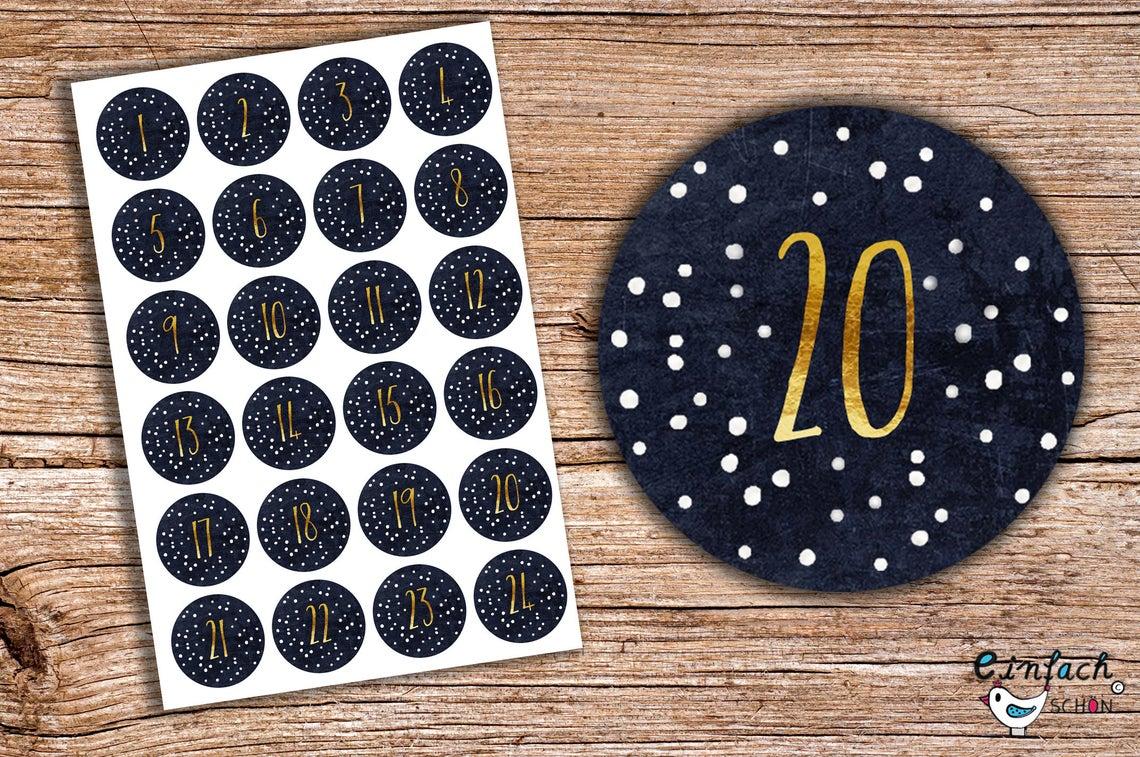 24 Advents-Aufkleber Tafel