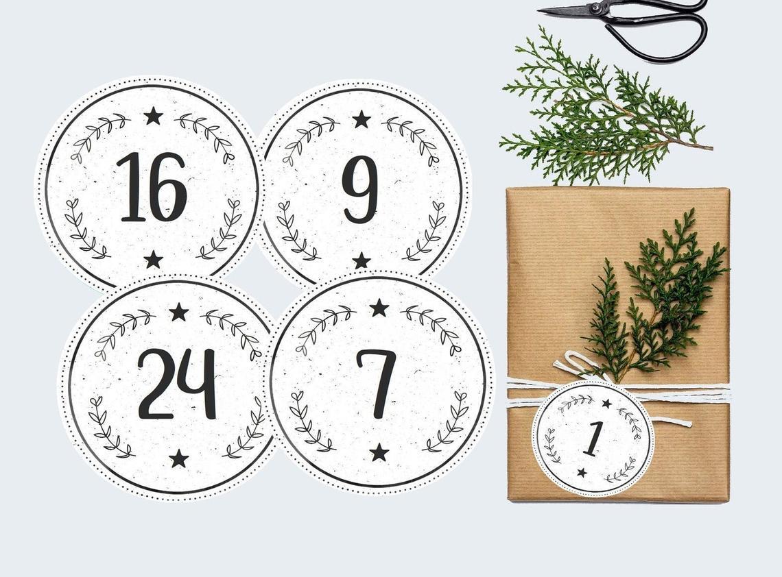 24 Adventskalenderzahlen Schwarz & Weiß