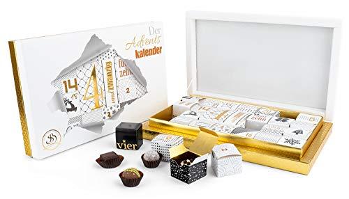 Adventskalender Pralinen mit Alkohol und ohne- Deutsche Handarbeit ideal als Geschenk - vonSommelière Stefanie Bengelmann - 350 g Schokoladen-