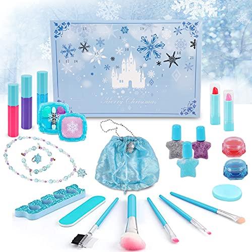 Souarts Beauty Adventskalender 2021 für Mädchen, Make up Weihnachtskalender Teenager mit Schminke Kosmetik Kette Armband Ringe Handtasche, 24 Überraschungen Überraschungspaket (Blau)