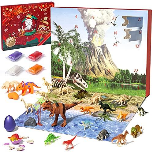 GAMENOTE Weihnachts-Adventskalender, 24 Tage Dinosaurier-Countdown-Kalender für Kinder Spielzeug mit 24 Pcs Überraschung 2021
