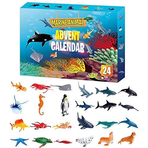 Adventskalender, 2020 Weihnachts-Countdown-Kalender, 24PCS Marine Animal Toy Weihnachts-Countdown-Überraschungsgeschenk für Kinder, Jungen und Mädchen