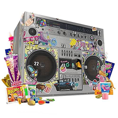 90er Jahre Adventskalender 2021 mit Nostalgie Süßigkeiten und Retro Verpackung im coolen Ghettoblaster Design