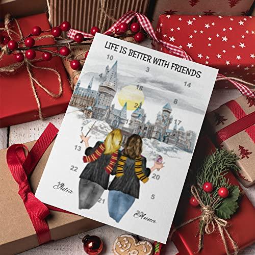 2 Freundinnen Harry Potter Adventskalender   Personalisierter Adventskalender für dich und deine Freunde   24 Türchen, die den Weg bis Weihnachten magisch verkürzen