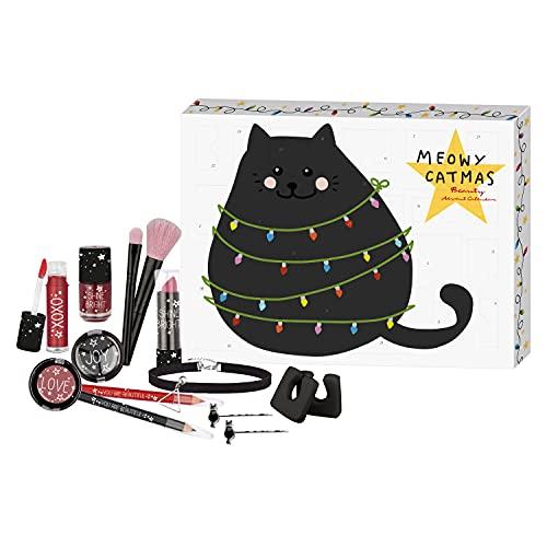 fesh! - Kosmetik-Adventskalender für Teens, Cat'mas Beauty, 24 Make-Up Überraschungen, Highlights für Augen, Lippen und Gesicht, in edler Box, besondere Geschenk-Idee für junge Frauen