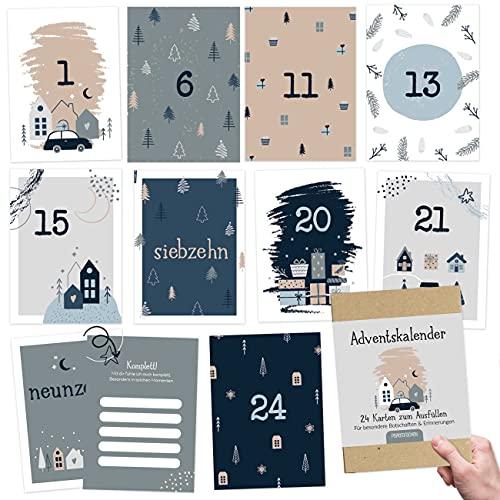 Karten-Adventskalender zum Basteln und Verschenken für den Partner Set 3 | 24 Postkarten zum Gestalten | Geschenkidee in der Vorweihnachtszeit| mit liebevollen Motiven zum Aufhängen