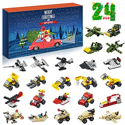 Weihnachten Adventskalender 2021, Weihnachten 24 Tage Countdown Adventskalender Spielzeug, Adventskalender Kinder Fahrzeuge Bausätze Geschenk für Jungen Mädchen