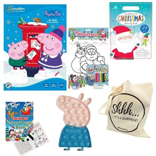Peppa Pig Schokoladen-Adventskalender, 40 g, gebündelt mit Pop It Fidget Toy, Countdown to Christmas Activity Book, Weihnachts-Malset, Weihnachtsfarbe & Puzzle-Buch, präsentiert in einer Geschenktüte