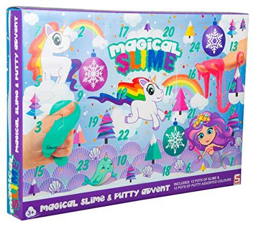Sambro SAM-3643-2 Adventskalender Slime Einhorn und Meerjungfrau mit Schleim und Knete, Kinder ab 3 Jahre, bunt