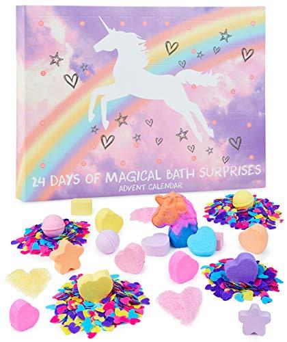 KreativeKraft Bath Bombs Advent Calendar 2020, Christmas Advent Calendars For Kids, + 24 Unicorn Gifts For Girls, Xmas Gifts Ideas For Childrens
