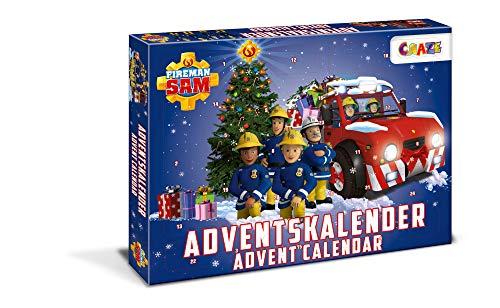 CRAZE 24690 Adventskalender Fireman Sam Weihnachtskalender Feuerwehrmann für Mädchen Jungen Spielzeugkalender, kreative Inhalte, Tolle Überraschungen