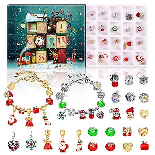 Schmuck Adventskalender 2021, Weihnachts Adventskalender für Mädchen -24Pcs DIY Armband Set Countdown zum Weihnachtskalender für Frauen Mädchen