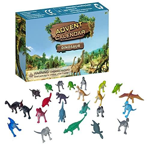 Gohhey Adventskalender Dinosaurier 24 Stücke Verschiedene Überraschungen Spielzeug Mini Dinosaurier Spielzeug Set Realistische Dinosaurier Figuren