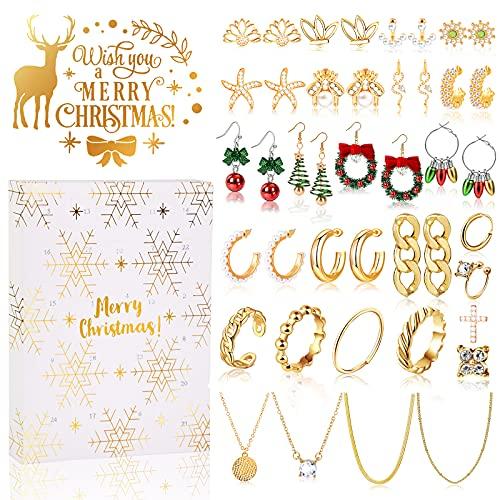 MJARTORIA Adventskalender Schmuck für Erwachsene Frauen 2021 Weihnachtskalender 24 Überraschungen Überraschungspaket mit Kette Ringe Ohrstecker Weihnachte Ohrringe