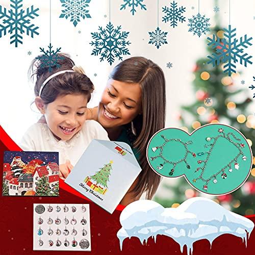 D-Rings Schmuck Adventskalender 2021, Weihnachts-Adventskalender, 24 Überraschungen Armband Kit, Halsketten, Schlüsselanhänger, Charms, Weihnachtskalender für Mädchen (Schmuck)