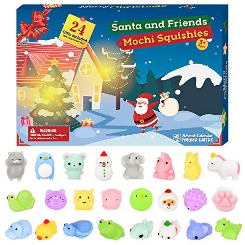 Elover Adventskalender 2020 Weihnachten Countdown Spielzeug für Kinder Geschenk für Weihnachten mit 24 Stück süße Spielzeug für Mädchen Jungen