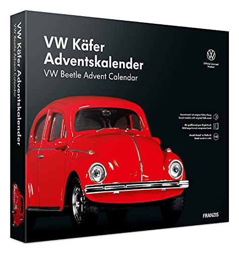 FRANZIS 55255 - VW Käfer rot Adventskalender 2021 - in 24 Schritten zum VW Käfer unterm Weihnachtsbaum, Metall-Modell 1:43, Kunststoffpodest mit integriertem Soundmodul, empfohlen ab 14 Jahren