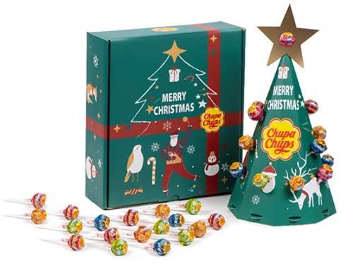 Chupa Chups Adventskalender 2021 - Tannenbaum Weihnachtskalender mit 24 Lutscher zum befüllen - DYI Advents-Kalender