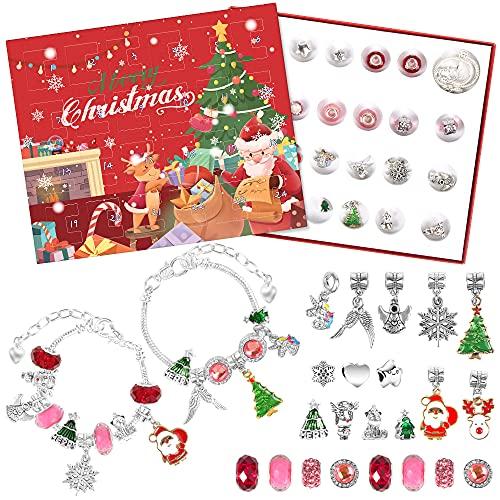 Aurasky Schmuck Adventskalender, Adventskalender Schmuck, Jewellery Advent Calendar 2021, DIY Necklace, 24 Christmas Charms, für Surprises Bracelet Christmas Calendar Gift(Rot)