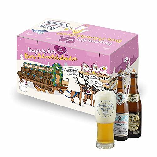 Bavariashop® Bier Adventskalender - PINK Edition! 23 x Bier aus Bayern inkl. Verkostungsglas, Geschenkidee für Frauen im Geschenkkarton