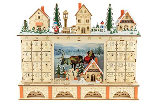 Clever Creations Traditional LED Wooden Advent Calendar  – detail 2