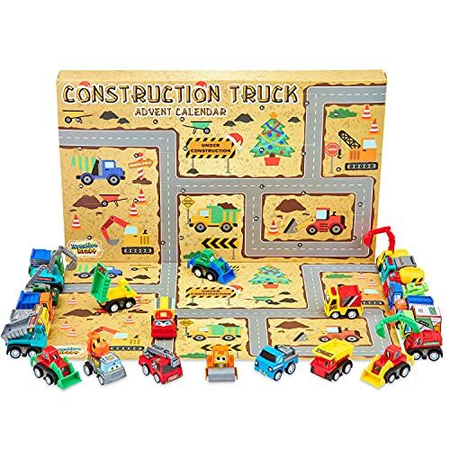 KreativeKraft Adventskalender 2021 Kinder, Spielzeug Baustellen Lastwagen, Adventskalender Kinder mit 24 Überraschungen