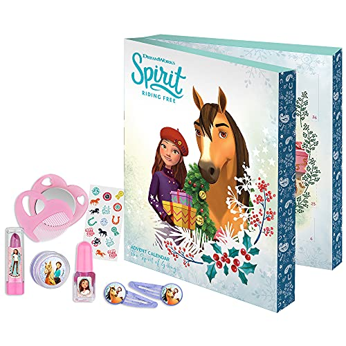 Lucky & Spirit - Adventskalender für Kinder, mit Beauty-überraschungen, Haar-Accessoires und Zubehör, Deko-Box zum Aufstellen, besondere Geschenk-Idee für Mädchen und kleine Pferde-Fans