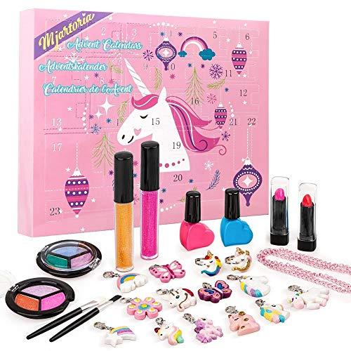 MJARTORIA Adventskalender Make-up 2021 für Mädchen Weihnachten Countdown Adventskalender für Mädchen, Frauen, Teenager Kinder Beauty Make-up Lippenstift, Schmetterling Halskette Armband Schmuck