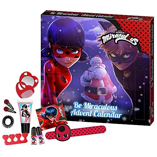 Miraculous - Adventskalender für Kinder, mit Beauty-überraschungen und Haar-Accessoires, Deko-Box zum Aufstellen, besondere Geschenk-Idee für Mädchen und kleine Superhelden-Fans