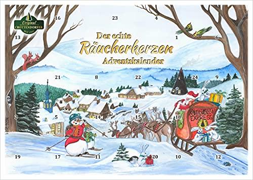 Crottendorfer Räucherkerzen - Adventskalender mit 24 Räucherkerzen - 2021er Motiv weihnachtliches Räucherkerzenland - Made in Germany