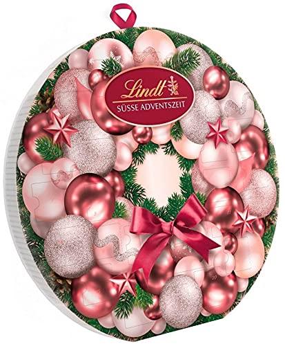Lindt Adventskalender 2021 Adventskranz | 270g | 24 verschiedene zartschmelzende Schokoladen-Überraschungen | Ideales Schokoladengeschenk