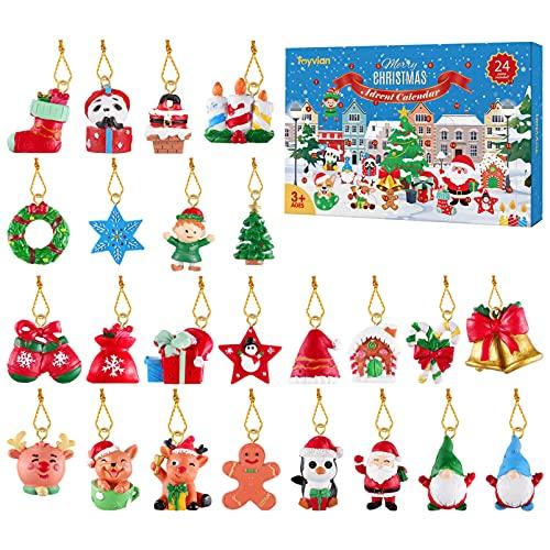 Toyvian 24Pcs Hängende Ornamente, Weihnachtstiere Relief Spielzeug, Xmas Weihnachtsschmuck für die Wand Weihnachtsbaum, Adventskalender 2021 Countdown Kalender