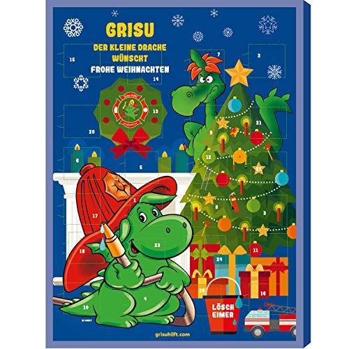 Adventskalender Grisu Feuerwehr-Mann 2020 | 24 Türchen | feinste Schokolade | Weihnachten Kinder | tolles Motiv kleiner Drache Jugend-feuerwehr | inkl. 0,50 € Spende an verunfallte Kameraden |