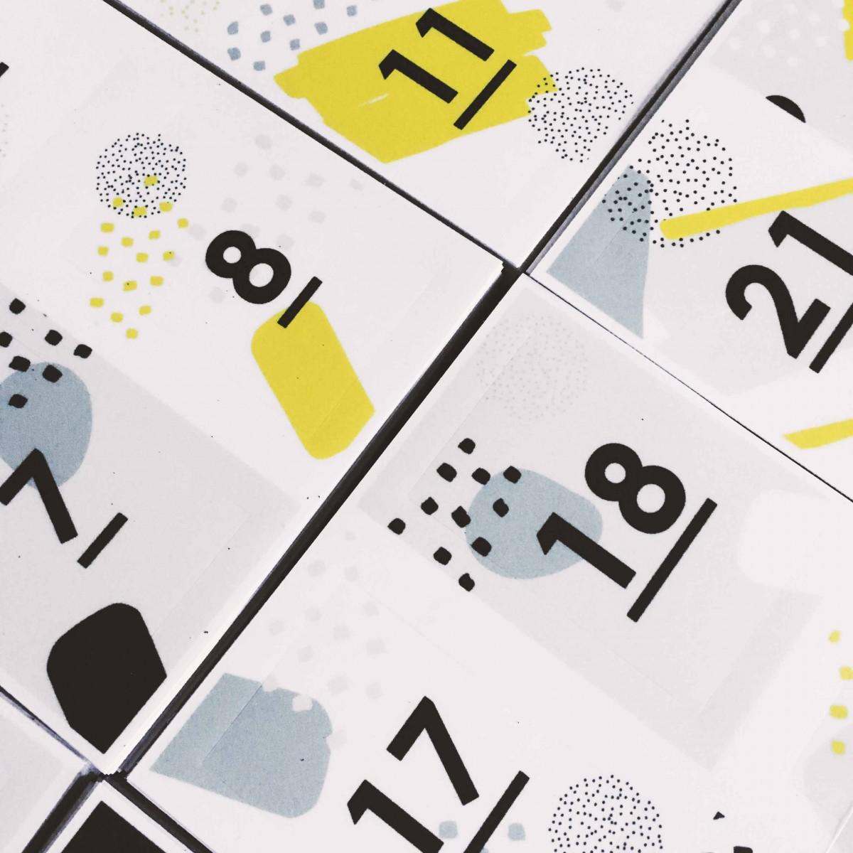 Adventskalender Sticker Set, Aufkleber-Zahlen