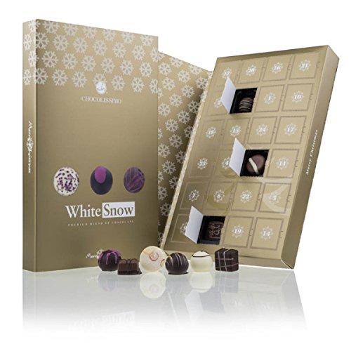 Adventskalender 'White Snow' - Edle Pralinen | Golden Book | Schokolade | Erwachsene | goldenen Weihnachtskalender | Weihnachten | Männer | Frauen | Mann | Frau | luxuriös | Silber | Mama | Papa