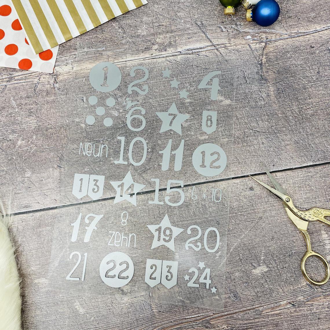 Adventskalender Zahlen zum Aufbügeln