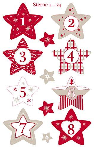 Adventskalender Zahlen Sterne Nr. 1-24