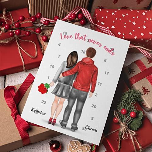 Paar mit Herz Adventskalender | Personalisierter Adventskalender für dich und deinen Partner | 24 Türchen, die den Weg bis Weihnachten magisch verkürzen
