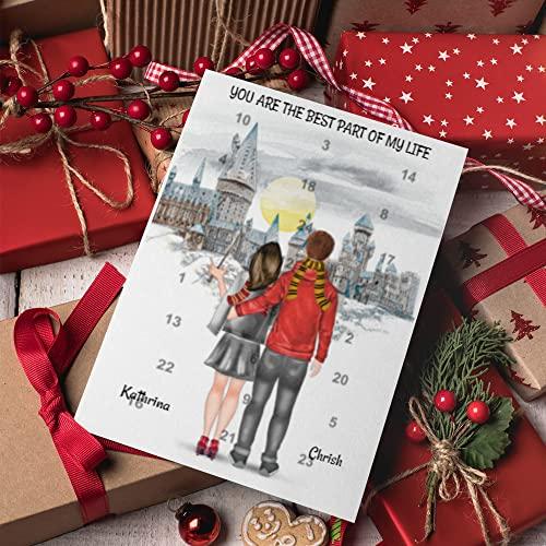 Harry Potter Paar Adventskalender | Personalisierter Adventskalender für dich und deinen Partner | 24 Türchen, die den Weg bis Weihnachten magisch verkürzen