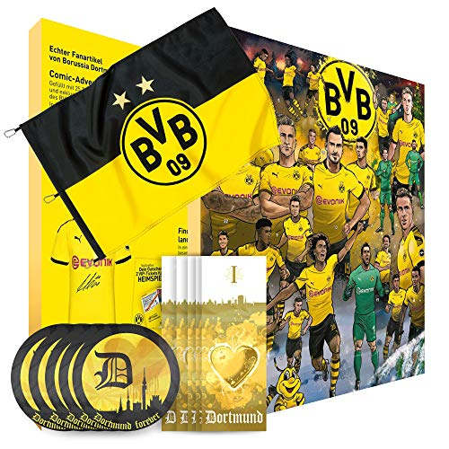 Borussia Dortmund Adventskalender XXL mit Autogrammkarten der BVB 09 Stars, 25 x Schokoladen Täfelchen Plus gratis Hissfahne BVB 09 größe 150 cm x 100 cm