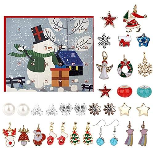 Lishirong Adventskalender Weihnachten 2021 Countdown-Kalender, Weihnachtsthema DIY Charm Making Kit Enthält 12 Charms, 2 Halsketten, 10 Ohrringe, DIY Anhänger-Armband-Halsketten-Set, Mädchen (Multi)