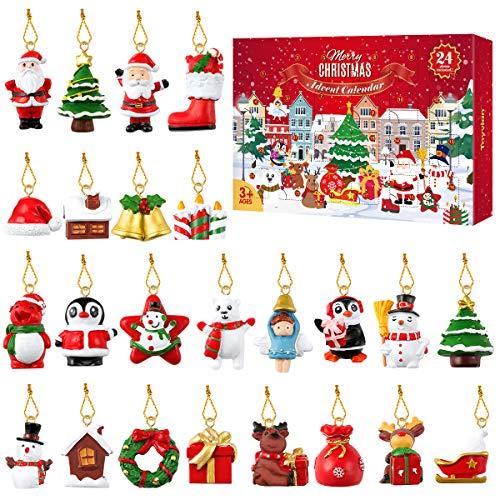 Tomaibaby Adventskalender 2021 24 Stück Weihnachts Countdown Kalender Dekoration Geschenkbox für Weihnachtsbaum Mini Harz Weihnachtsschmuck