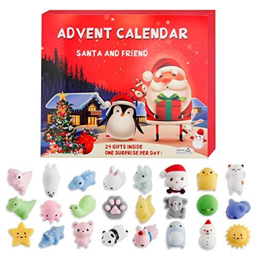 Peirich Adventskalender, 2020 Weihnachts Countdown Adventskalender 24 Tiere Squishy Toys für Kinder Ungiftig süß und entzückende Party begünstigen unterschiedliche Überraschungen für jeden Tag