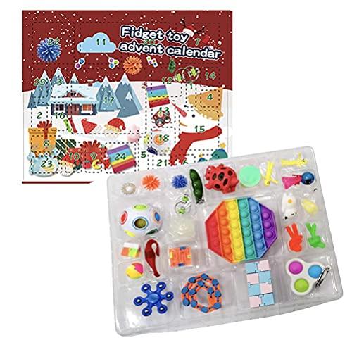 CJMING Weihnachts-Adventskalender, Weihnachts-Countdown-Kalender-Spielzeug-Set mit 24 Stück sensorischen Fidget Spielzeugen, Squeeze-Spielzeug, Dekompressions-Spielzeug, Stressabbau, Kinder Geschenk variant