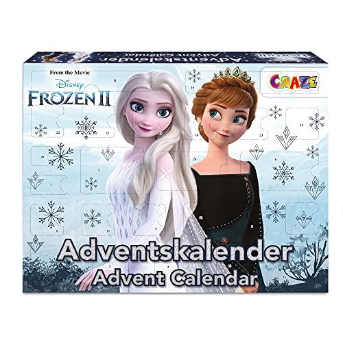 CRAZE ADVENTSKALENDER Frozen II Weihnachtskalender Eiskönigin Eisprinzessin für Mädchen Spielzeugkalender 31247, Tolle Überraschungen variant